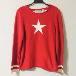 Liz Claiborne Red White Star Knit Sweater Large